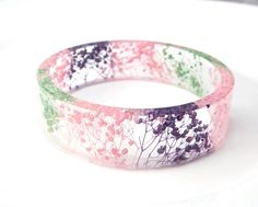 Real flower bangle Purple bracelet Real flower resin jewelry