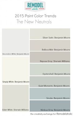 2015 Favorite Paint Color Trends: The New Neutrals. The Creativity Exchange for 2015 Favorite Paint Color Trends: The New Neutrals. The Creativity Exchange for Interior Paint Colors, Paint Colors For Home, House Colors, Paint Colours, Beach Paint Colors, Interior Design, Interior Painting, Do It Yourself Inspiration, Color Inspiration