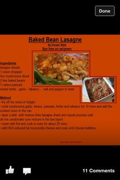 Baked Bean Lasagne Slimming World