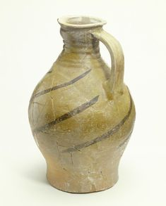 A reconstructed London-type ware example of early rounded jug, with early style red-painted decoration. Date 1141 AD - 1200 AD. Museum of London. Medieval Recipes, London Museums, Medieval Life, Islamic World, 12th Century, Dark Ages, Vintage Pottery, Porcelain Ceramics, Archaeology