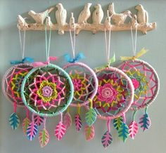 Hand crocheted dream catchers.