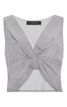 Cotton Seersucker Twist Front Top by THAKOON Now Available on Moda Operandi