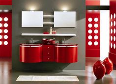 elogant country home decorating | Elegant Modern Red Bathroom Vanities Interior Decoration Ideas The ...