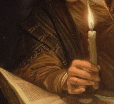 imagediver:  Click on the image to see the detail in a zoomable context. Detail from Astronomer by Candlelight, Gerrit Dou