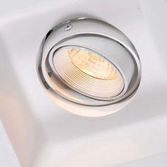 Einbaustrahler Zero quadrat I GU10: Dieser Gips-Einbaustrahler ist etwas Besonderes. Einfach, trotzdem exklusiv. Nach dem Einbau sind nur noch die Vertiefung und das Leuchtmittel sichtbar. Diese Leuchte kann nur in einer Mauer verarbeitet werden, welche noch (mit Gips) verputzt werden muss. Sie kann selbstverständlich auch übermalt werden. #leuchte  #wohnen #design #lampe #gipsleuchte