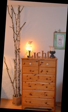 : birch trunk in the living room DIY for 11 euros like-stamps-so-much .: birch trunk in the living room DIY for 11 euros Indoor Trees, Black And White Baby, Woodland Nursery Decor, Baby Deer, Animal Nursery, Led Ceiling, Dresser As Nightstand, Woodland Animals, Printing Services