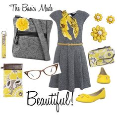 The Basics Made Beautiful.  Add functionality to any outfit with Thirty One's Organizing Shoulder Bag in Grey Quilted Poppy and matching wristlet, key fob, eyeglass case and rosette clip in Awesome Blossom yellow! Get it at www.mythirtyone.com/64981/