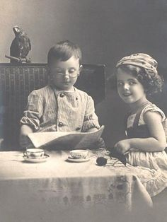 "Use old vintage children's photos for ""props""   (really neat if  found some of  realtives)"