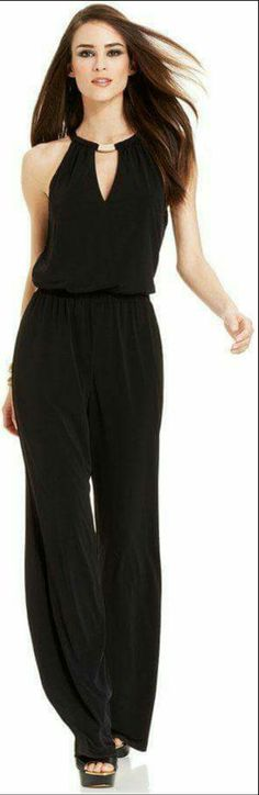 Mom would love this! Dressy Outfits, Cool Outfits, Fashion Outfits, Womens Fashion, Ootd Fashion, Halter Jumpsuit, Look Chic, Jumpsuits For Women, Dress Patterns