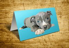 Note Cards a Personal Stationery Pit Bull Puppy Dog Custom Vector Art Stationery by RandomOasis
