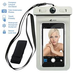 nice Voxkin ®★ PREMIUM QUALITY ★ Universal Waterproof Case including ARMBAND ✚ COMPASS ✚ LANYARD - Best Water Proof, Dustproof, Snowproof Bag for iPhone 6S, 6, 6 Plus, 5, Galaxy S6, S5 Note 4 or Any Phone