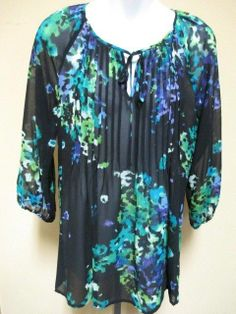 ELLEN TRACY Top Blouse Multi Sheer Pleated 3/4 Sleeves - Size XS