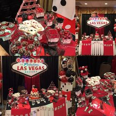 The dessert  table set up for a Casino themed 30th Birthday! Bom Bom's mini desserts, cakepops, themed decor And candy bar collaborated well with Cakes by Blanca and the party's themed balloons by Rachel. #casinotheme #bombom #30