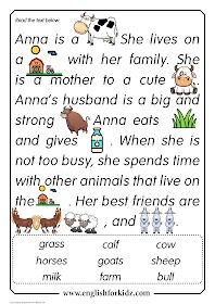 Reading Comprehension Worksheets: Anna the Cow. First, second or third grades. Grade 1 Reading Worksheets, First Grade Reading Comprehension, Phonics Reading, Teaching Reading, Comprehension Strategies, Reading Response, Verb Worksheets, Printable Worksheets, English Stories For Kids