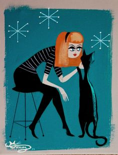 ORG EL GATO GOMEZ PAINTING RETRO EAMES MID CENTURY MODERN CAT ATOMIC PIN-UP GIRL