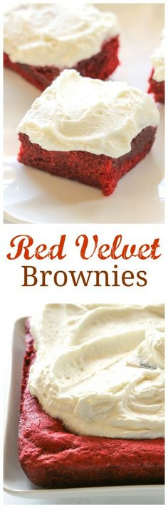 Red Velvet Brownies with White Chocolate Frosting - they're as pretty as they are tasty! the-girl-who-ate-everything.com