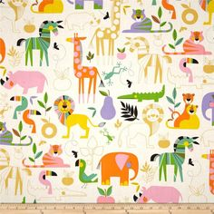 Alexander Henry Monkey's Bizness Zoo Bisou Nat/Brite from @fabricdotcom  Designed by DeLeon Design Group for Alexander Henry, this cotton print is perfect for quilting, apparel and home decor accents. Colors include lime, pink, yellow, orange, gold, purple, black, turquoise and white.