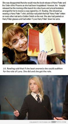 wow! i love Luna in harry potter and her story is amazing :) how she got her role as luna in harry potter