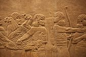 , England,London,British Museum,Assyrian Relief from Nineveh Northern Iraq showing Hunters with Dead Lion 645BC