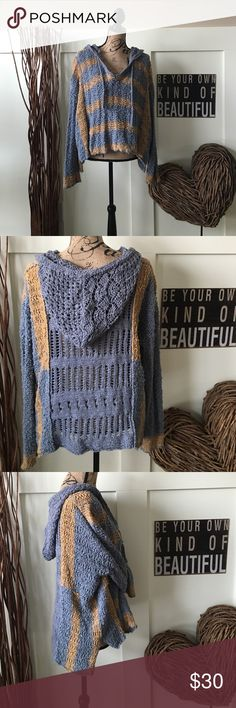 Free People hooded sweater Pretty blue and yellow loose knit hooded sweater.  Slightly longer in the back for a flattering fit. Free People Sweaters