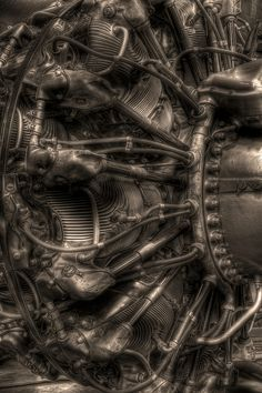 Mechanical Art! A Pratt & Whitney R-2800-39 18-cylinder radial engine. First run in 1937, over 125,000 of these were built and saw extensive service in World War II and beyond!