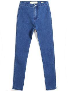 Blue Casual Denim Pencil Pant