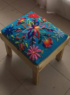 colorful Otomi embroidered chair