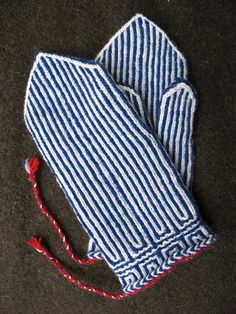 Ravelry: CarlaM's Twined Knitting - blue-white with red mittens and hat Hannele