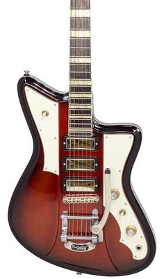 Vintage replica guitars that play, sound and look better than the classics they pay tribute to such as Airline, Teisco and Mosrite. Vintage Electric Guitars, Cool Electric Guitars, Guitar Body, Guitar Art, Eastwood Guitars, Double Bind, Firebird, One Design, Two By Two