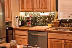 Kitchen -LED under cabinet lighting Cappuccino Machine Copper tile Butcher block counter & island Wine Cooler Kitchen Tiles Design, Kitchen Layout, Kitchen Colors, Rustic Kitchen, Kitchen Decor, Dad's Kitchen, Kitchen Wall Storage, Best Kitchen Lighting, Led Under Cabinet Lighting