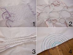 Shibori stitch patterns...These are the stitches to use before dying your cloth.Really good tutorial about this dying tecnique.....Thanks for sharing such interesting stuff!