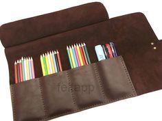 Cuir stylo cas, rouleau de crayon, plumier, Paint Brush cas, composent organisateur, mallette, étui de transport, en difficulté en cuir marron