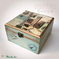 Fadoboz világjáróknak (dekopancs) - Meska.hu Decoupage Vintage, Treasure Boxes, Ideas Para, Decorative Boxes, Scrap, Bottle, Boxing, Suitcase, Inspiration