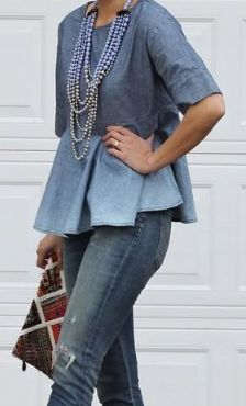 01dc3ea983 Denim on Denim--Anthropologie Chambray Swing Top--