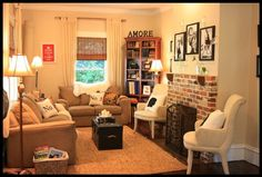 Living Room {before and after} ... Tiny but great furniture choices & placement
