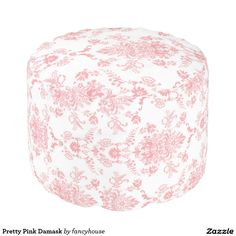 Pretty Pink Damask Pouf - Pink on white lacy look of damask.