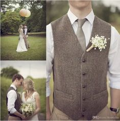 Springplus Mens Formal V Neck Woollen Suit VES Slim Fit Tweed Tuxedos Waistcoat for Wedding Groomsmen