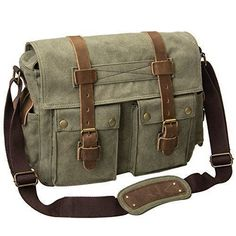 Army Green Canvas Leather Shoulder Laptop Bag Schoolbag Messenger bag #Peacechaos #MessengerShoulderBag