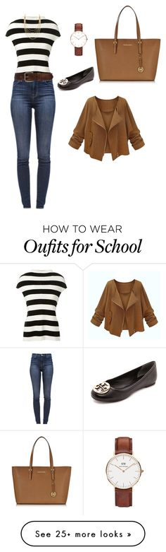 """""""School4"""" by traveleroutfits on Polyvore featuring Victoria Beckham, J Brand, Daniel Wellington, Bed
