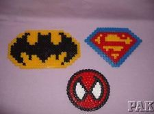 Perler Bead Pattern Disney Characters | ... Heroes Logo Fridge Magnets.Batman,Superman,Spiderman.Hama Perler Beads