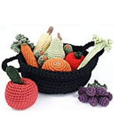 Crocheted fruit and vegetable basket is fun to stitch and a creative way to bring a touch of summer to brighten your kitchen. (Coats & Clark)