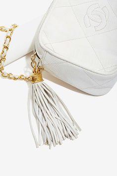 Vintage Chanel White Lizard Bag