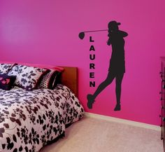Womens Golf Gifts. Your favorite golf player will be amazed to find her room transformed with one of these personalized decals! This is a great gift for golfers and includes the player silhouette and name. This vinyl wall decal can be altered to any size, but I do offer four different standard sizes. You may see the available sizes by using the drop down menu to the right of this description. No matter what size you choose, each of these pieces kids room decor is made using only the…