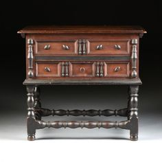 A WILLIAM AND MARY EBONIZED AND CARVED WOOD CHEST ON : Lot 472