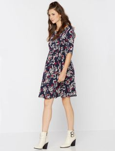 A Pea in the Pod 3/4 Sleeve Pleated Print Maternity Dress