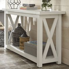 Moravia Console Table - All About Decoration Farmhouse Sofa Table, Diy Sofa Table, Farmhouse Furniture, Farmhouse Decor, Sofa Tables, Country Furniture, Table Console Blanche, White Console Table, Rustic Console Tables