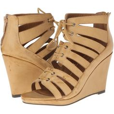 Michael Antonio Garabi Women's Wedge Shoes, Beige ($36) ❤ liked on Polyvore featuring shoes, sandals, beige, lace up wedge sandals, high heel platform sandals, wedge heel sandals, beige sandals and michael antonio sandals
