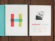 Hudson Leif - Nick Brue - Letter Press baby announcement
