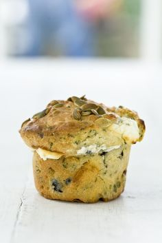 Marcus Wareing's olive and feta muffin recipe makes a wonderfully-flavoured accompaniment to dinner or a delightful snack or brunch item. Switch out the flour for almond flour. Muffin Recipes, Baking Recipes, Bread Recipes, Brunch Items, Little Lunch, Good Food, Yummy Food, Savoury Baking, Savoury Cake