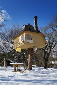 tree house, seriously. this one has a chimney